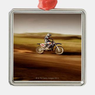 Motocross Rider 2 Silver-Colored Square Decoration