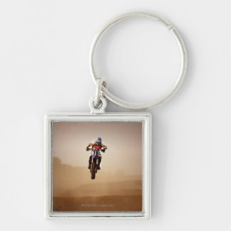 Motocross Rider Silver-Colored Square Key Ring