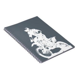 Motocross rider on bike - editable background spiral notebook
