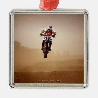 Motocross Rider Silver-Colored Square Decoration