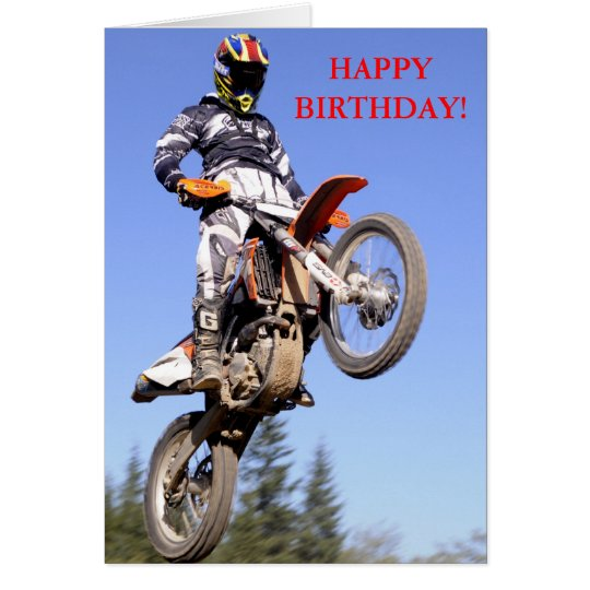 Motocross rider standing tall birthday card
