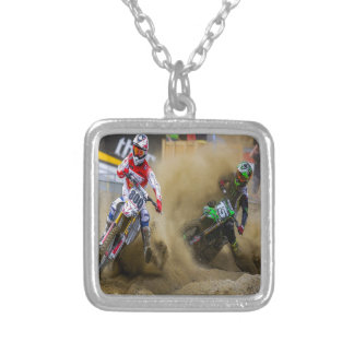 Motocross Silver Plated Necklace