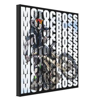 Motocross Sports Dirt Biker Photo Typography Canvas Print