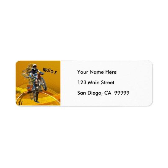 Motocross Wheelie in Pieces Abstract Desert Text Return Address Label