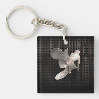Motocross Whip; Cool Black Double-Sided Square Acrylic Key Ring