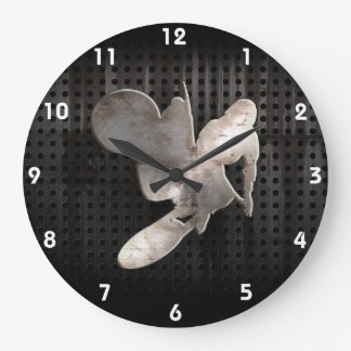 Motocross Whip; Cool Black Large Clock