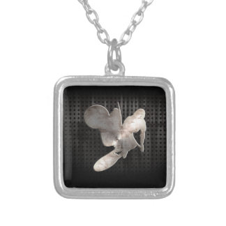Motocross Whip; Cool Black Square Pendant Necklace