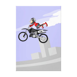 Motocross young of the red equipment shows their canvas print