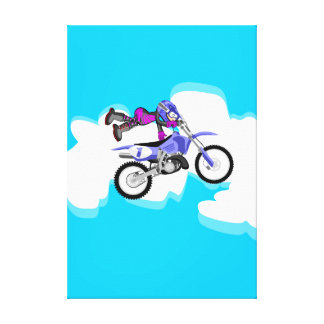 Motocross young of the violet equipment making canvas print