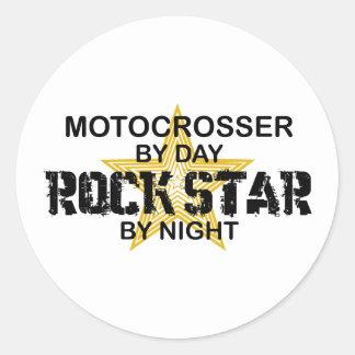 Motocrosser Rock Star by Night Classic Round Sticker
