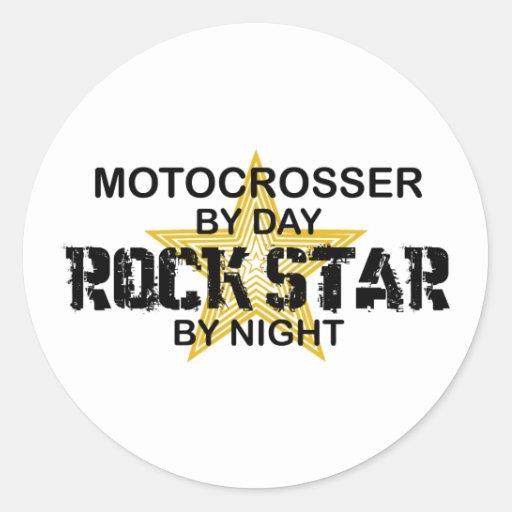 Motocrosser Rock Star by Night Round Sticker