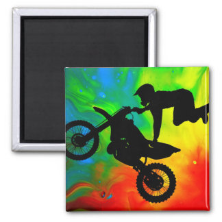 Motocrossing in a Solar Flare Up Square Magnet