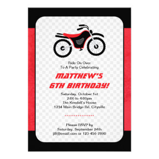 Motor Bike Birthday Personalized Invites