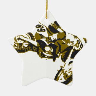 motor bike cross-country race ceramic star decoration