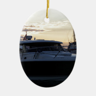 Motor Boat At Dusk Ceramic Oval Decoration