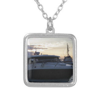 Motor Boat At Dusk Silver Plated Necklace