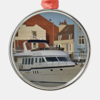 Motor Boat In Weymouth Silver-Colored Round Decoration