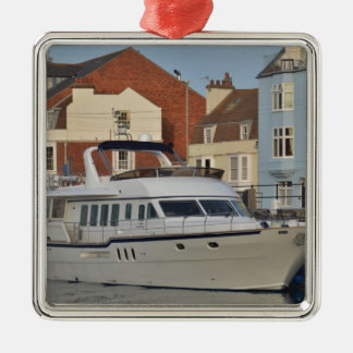 Motor Boat In Weymouth Silver-Colored Square Decoration
