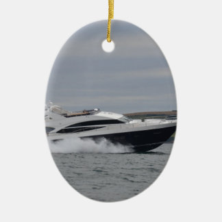 Motor cruiser at speed. christmas ornament