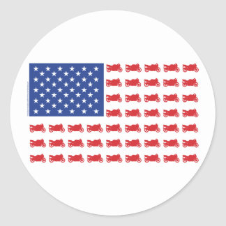 Motor-Cycle-Flag-Sport Round Sticker