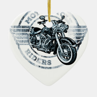 Motor Cycle Rider Biker Ceramic Heart Decoration