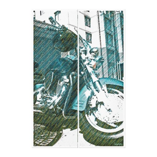 Motor Psychole ( motorcycle psycho bike :)) Gallery Wrapped Canvas
