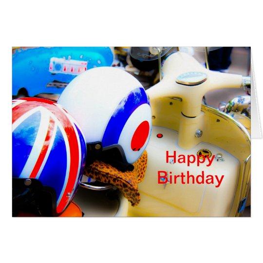 Motor Scooter Helmets Happy Birthday Card