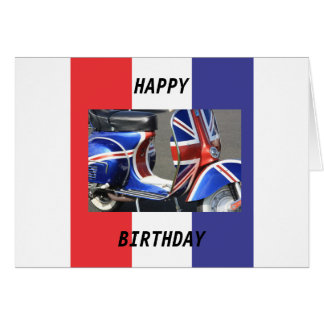 Motor Scooter Union Jack Design Card