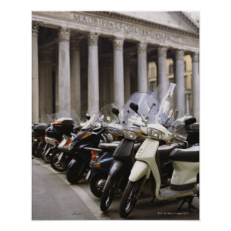 Motor scooters parked outside the Pantheon in Poster