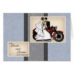 Motorbike Bride And Groom Congratulations Card