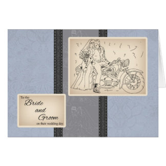 Motorbike Bride And Groom Congratulations Card