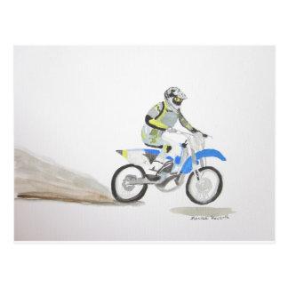 Motorbike driver postcard