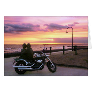 Motorbike Lovers at Sunset Card