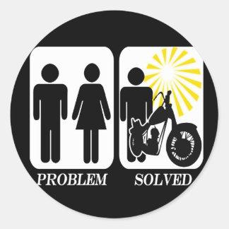 Motorbike Problem Solved Round Sticker