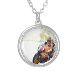 Motorbike Round Pendant Necklace