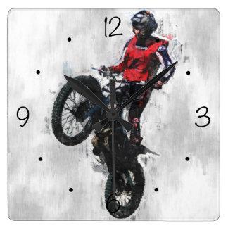 Motorbike trials rider clocks