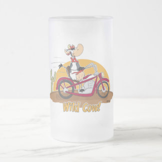 "Motorbike ""Wild Cow"" Frosted Glass Beer Mug"