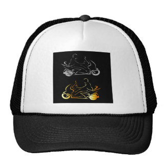 Motorbike with a person wearing helmet cap