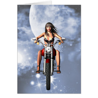 Motorbiker girl birthday card