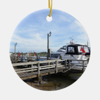 Motorboat On The River Blyth Christmas Ornament