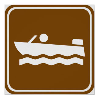 Motorboating Highway Sign Poster