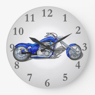 Motorcycle 1 - Blue Large Clock