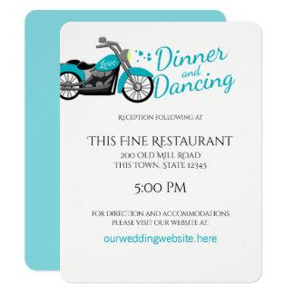 Motorcycle and Hearts Aqua Wedding Reception Card