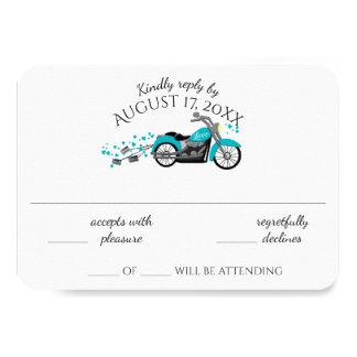 Motorcycle and Hearts Aqua Wedding Response Card
