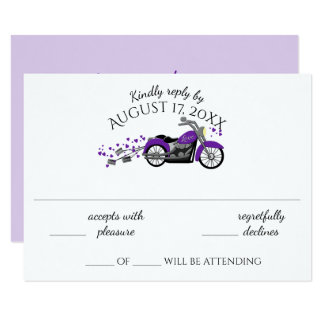 Motorcycle and Hearts Purple Wedding Response Card