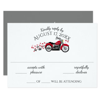 Motorcycle and Hearts Wedding Response Card