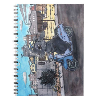 Motorcycle background equipped note of rabbit note book