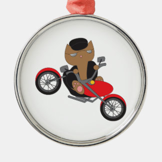 Motorcycle Biker Cat Christmas Ornament