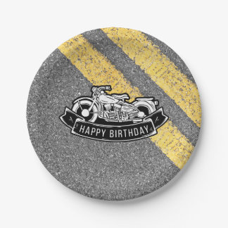Motorcycle Biker Happy Birthday Party Serving 7 Inch Paper Plate