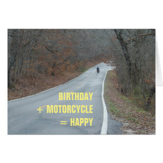 Motorcycle Birthday Card rider on road